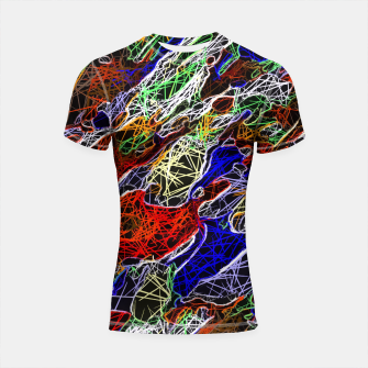 Miniaturka psychedelic rotten sketching texture abstract background in red blue green Shortsleeve Rashguard, Live Heroes