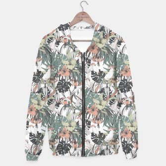 Miniature de image de Pattern drawing exotic birds in the rainforest Sudadera con capucha, Live Heroes