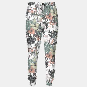 Thumbnail image of Pattern drawing exotic birds in the rainforest Pantalones de chándal, Live Heroes