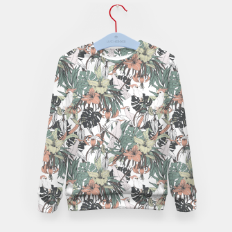 Miniatur Pattern drawing exotic birds in the rainforest Sudadera para niños, Live Heroes