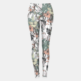 Miniature de image de Pattern drawing exotic birds in the rainforest Leggings, Live Heroes