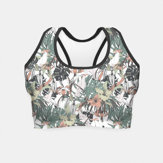 Miniaturka Pattern drawing exotic birds in the rainforest Crop Top, Live Heroes