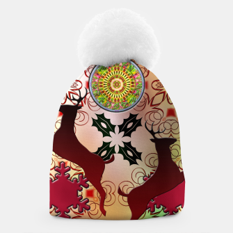 Thumbnail image of Ugly Sweater Christmas Reindeer Design Beanie, Live Heroes
