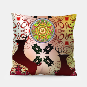 Thumbnail image of Ugly Sweater Christmas Reindeer Design Pillow, Live Heroes