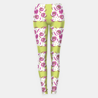 Thumbnail image of Green Cherries Abstract Pattern Leggings, Live Heroes