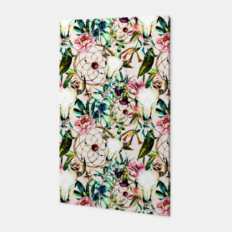 Thumbnail image of Bohemian Skull Pattern Flowery Vibrant Colors Canvas, Live Heroes