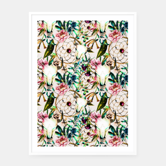 Thumbnail image of Bohemian Skull Pattern Flowery Vibrant Colors Cartel con marco, Live Heroes