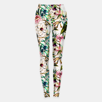 Thumbnail image of Bohemian Skull Pattern Flowery Vibrant Colors Leggings, Live Heroes