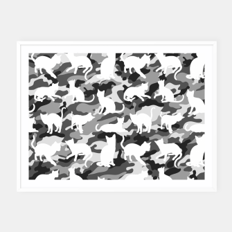 Miniature de image de Black and White Catmouflage Camouflage Framed poster, Live Heroes
