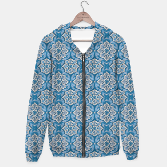 Snow Flower Blue & Gray Pattern Hoodie thumbnail image