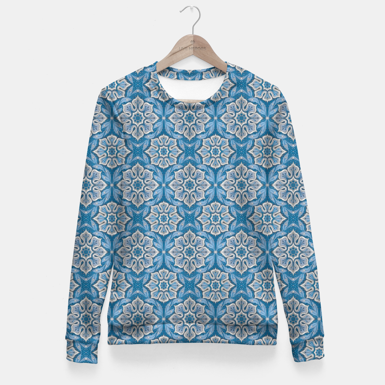 Image of Snow Flower Blue & Gray Pattern Fitted Waist Sweater - Live Heroes