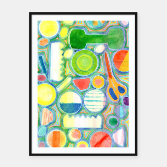 Miniatur Picturesque Shapes Pattern with a Scissors  Framed poster, Live Heroes