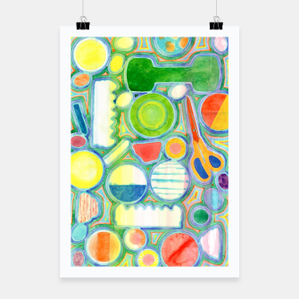 Miniatur Picturesque Shapes Pattern with a Scissors  Poster, Live Heroes