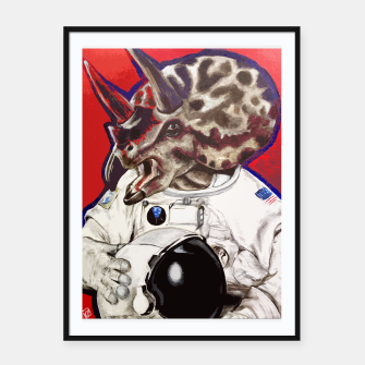 Thumbnail image of Triceratops Astronaut Dinosaur Art Poster, Live Heroes