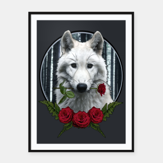 Miniatur Wolf with Rose - Graphic Style Plakat mit rahmen, Live Heroes