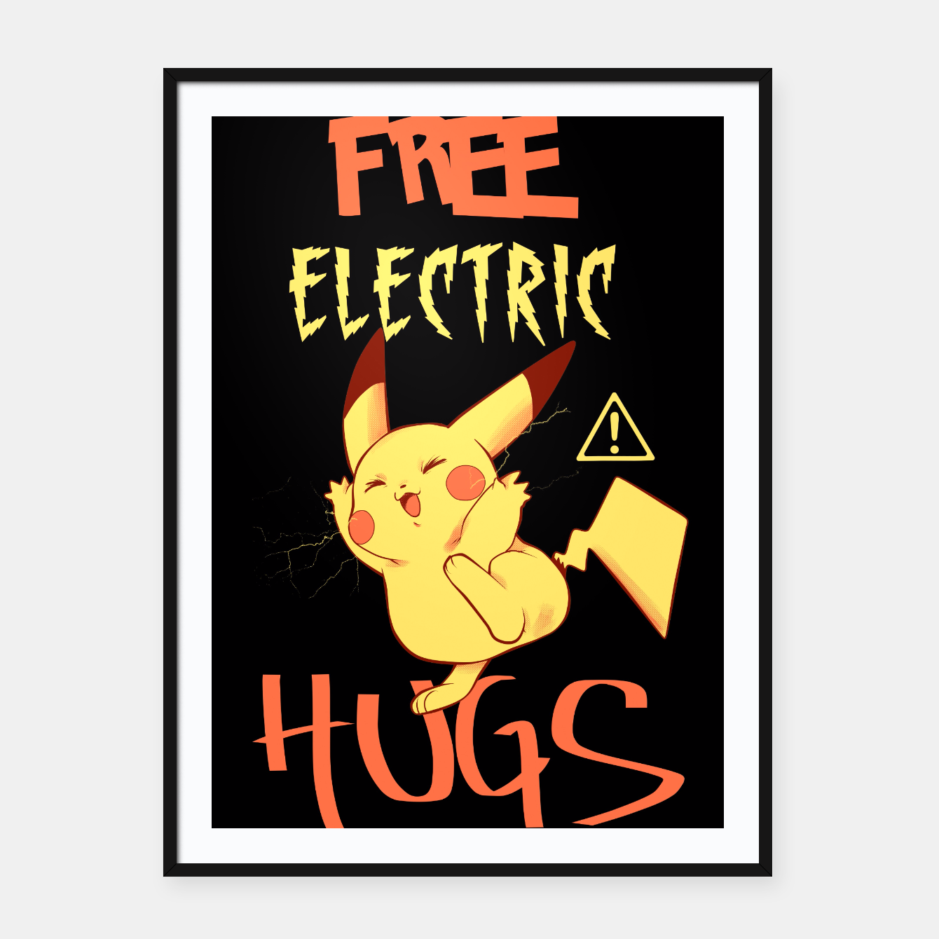 Free electric hugs black Cartel con marco, Live Heroes