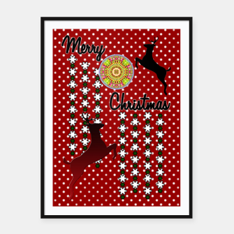 Thumbnail image of Merry Christmas Snow Deer Framed poster, Live Heroes