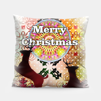 Thumbnail image of Ugly Sweater Reindeer Snowfall Pillow, Live Heroes