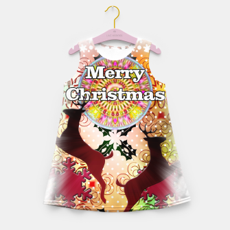 Thumbnail image of Ugly Sweater Reindeer Snowfall Girl's Summer Dress, Live Heroes