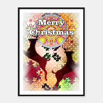 Thumbnail image of Ugly Sweater Reindeer Snowfall Framed poster, Live Heroes