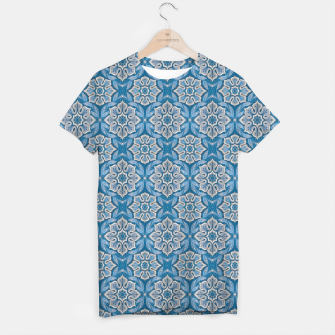 Thumbnail image of Snow Flower Blue & Gray Pattern T-shirt, Live Heroes