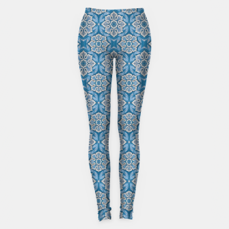 Snow Flower Blue & Gray Pattern Leggings thumbnail image