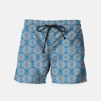 Thumbnail image of Snow Flower Blue & Gray Pattern Swim Shorts, Live Heroes