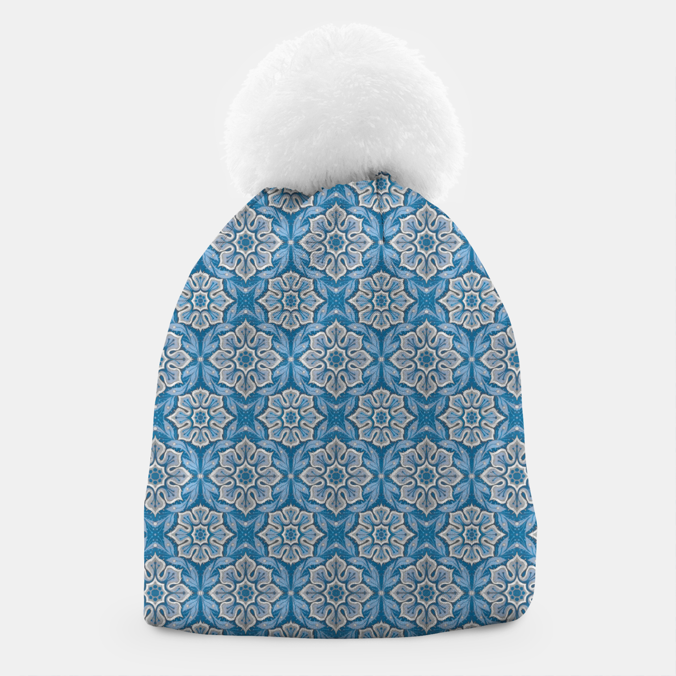 Image of Snow Flower Blue & Gray Pattern Beanie - Live Heroes