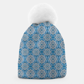 Snow Flower Blue & Gray Pattern Beanie thumbnail image