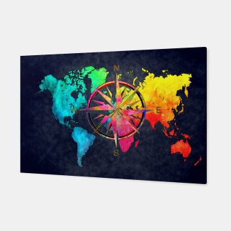 Miniaturka world map wind rose Canvas, Live Heroes