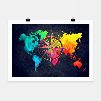 Miniature de image de world map wind rose Plakat, Live Heroes