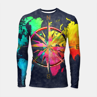 Thumbnail image of world map wind rose Rashguard Długi Rękaw, Live Heroes