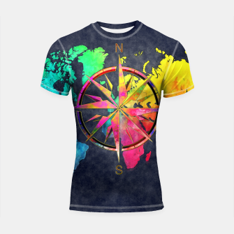 Miniaturka world map wind rose Rashguard Krótki Rękaw, Live Heroes