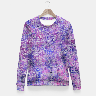 Miniatur Purple and faux silver swirls doodles Fitted Waist Sweater, Live Heroes