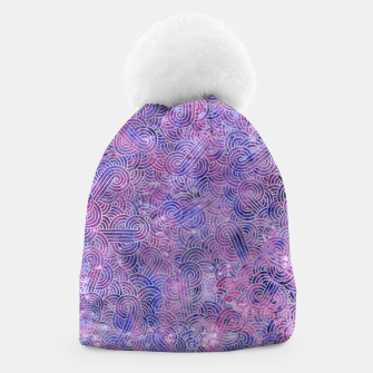 Miniatur Purple and faux silver swirls doodles Beanie, Live Heroes