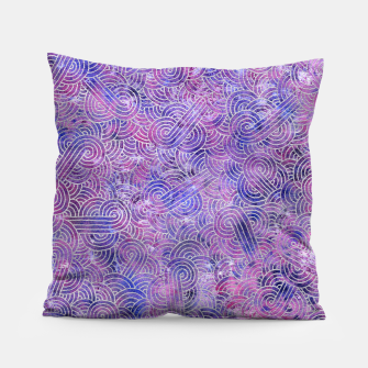 Miniatur Purple and faux silver swirls doodles Pillow, Live Heroes