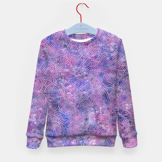Miniatur Purple and faux silver swirls doodles Kid's Sweater, Live Heroes