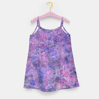Miniatur Purple and faux silver swirls doodles Girl's Dress, Live Heroes