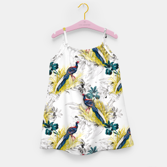 Thumbnail image of Pheasant animals birds in floral pattern Vestido para niñas, Live Heroes