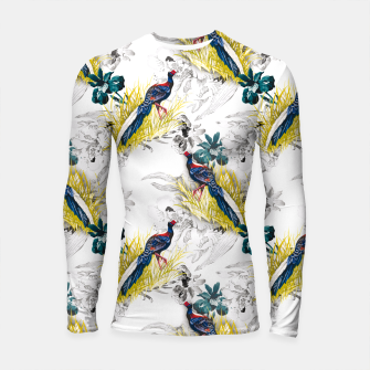 Thumbnail image of Pheasant animals birds in floral pattern Longsleeve Rashguard, Live Heroes
