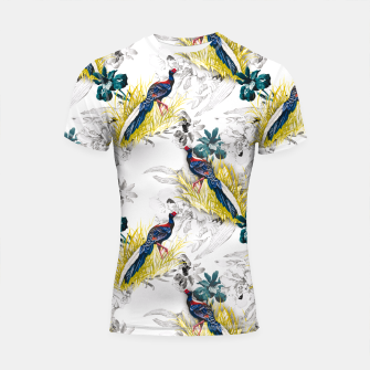 Thumbnail image of Pheasant animals birds in floral pattern Shortsleeve Rashguard, Live Heroes