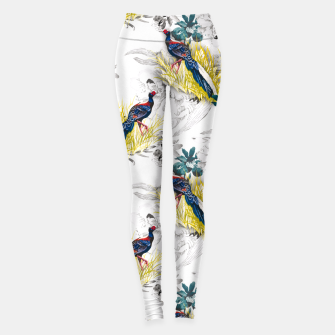 Thumbnail image of Pheasant animals birds in floral pattern Leggings, Live Heroes