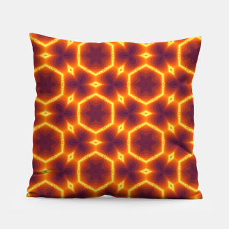 Thumbnail image of Vibrant Orange Patterned Pillow, Live Heroes