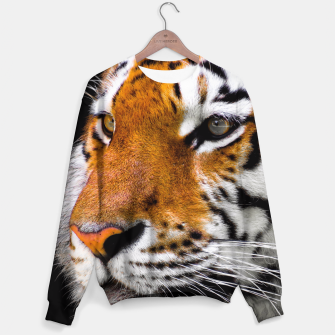 Miniaturka Cute close-up picture of tiger on black background Sweater, Live Heroes