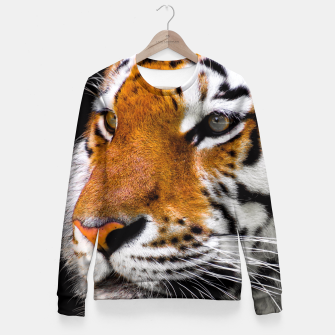 Miniaturka Cute close-up picture of tiger on black background Fitted Waist Sweater, Live Heroes