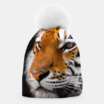 Miniaturka Cute close-up picture of tiger on black background Beanie, Live Heroes