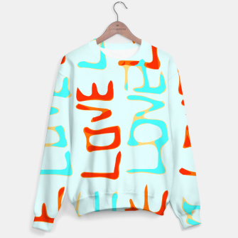Thumbnail image of LOVE alphabet handwriting drawing in red and blue Sweater, Live Heroes