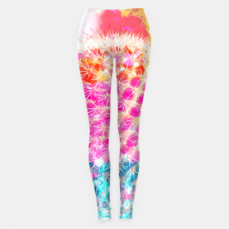 Thumbnail image of closeup cactus with colorful painting abstract in pink orange blue Leggings, Live Heroes