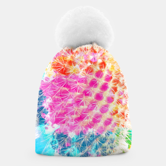 Thumbnail image of closeup cactus with colorful painting abstract in pink orange blue Beanie, Live Heroes
