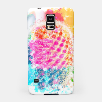 Thumbnail image of closeup cactus with colorful painting abstract in pink orange blue Samsung Case, Live Heroes